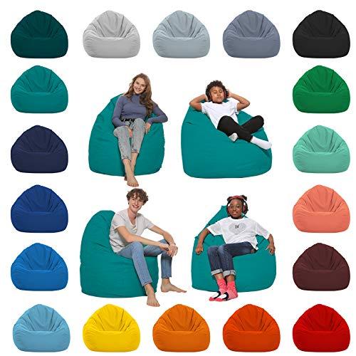 HomeIdeal - Sitzsack XXL Bodenkissen für Erwachsene & Kinder - Geeignet für Gaming oder Entspannen - Indoor wie Outdoor da er Wasserfest ist - mit EPS Perlen, Farbe:Türkis, Größe:XL