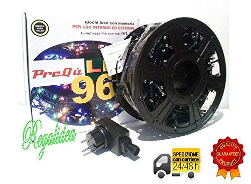 PREQU' Rotolo LUCI 960 LED 67 Metri Interno/Esterno 7 Giochi luci