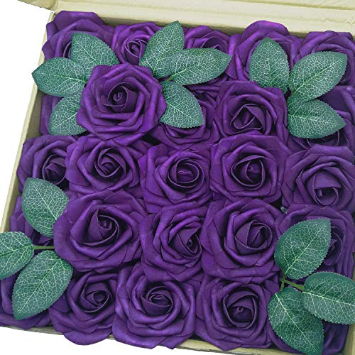 J-Rijzen Jing-Rise Artificial Flowers 50PCS Real Looking Fake Roses with Stem for DIY Wedding Bouquets Centerpieces Party Baby Shower Home Decorations (Purple)
