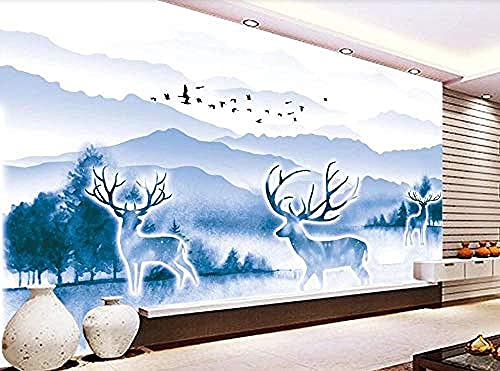 Elk Distant Mountain Forest Blue Ink Wallpaper Wall Wallpaper Decoration 3D Wallpaper Paste Living Room The Wall for Bedroom Mural-400cm×280cm