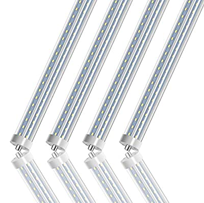 LED Light Tube 8FT, T8 T10 T12 LED Tubes, Dual-End Powered, Ballast Bypass, Fluorescent Replacement, 7200 Lumens, Clear, Garage, Warehouse, Shop Light - 4 Pack