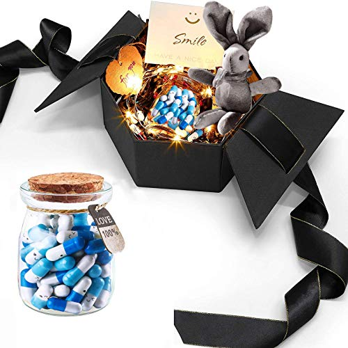 Love Capsule Gift Box with 50 Pieces Message In a Bottle Capsule - Letter Pills for Valentine's...