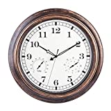 MRKE Reloj Pared con Termómetro y Higrómetro, 46CM XXL Grande Vintage Silencioso Impermeable Reloj de Pared para Interior y Exterior