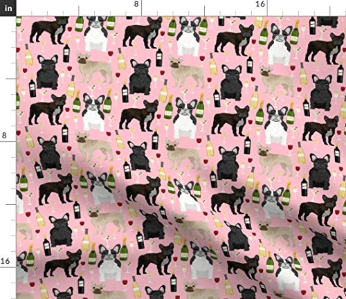 Spoonflower Fabric - French Bulldogs Wine Champagne Celebrate Frenchies Pink Frenchie Printed on Petal Signature Cotton Fabric by The Yard - Sewing Quilting Apparel Crafts Decor