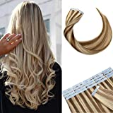 14' 80g Remy Tape in Human Hair Extensions Highlight #12/613 Long Straight Hair 40pcs/pack Seamless Skin Weft Invisible Double Sided Tape Golden Brown Mix Bleach Blonde