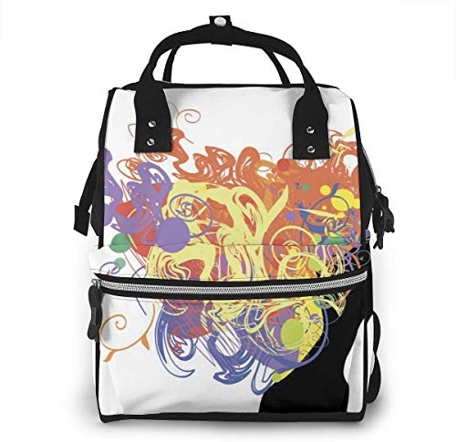 UUwant Sac à Dos à Couches pour Maman Large Capacity Diaper Backpack Travel Manager Baby Care Replacement Bag Nappy Bags Mummy BackpackBeauty Color Girl Silhouette with Rose and Leaf