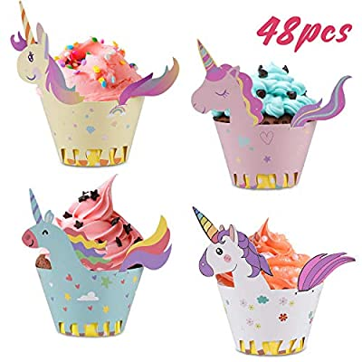 Unicorn Cupcake Wrappers + Toppers, Cute Cake D...