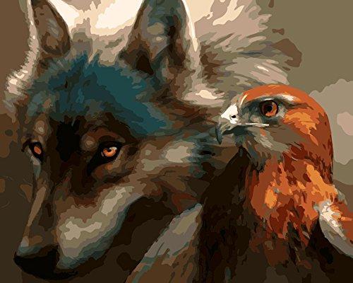 Fuumuui DIY Malen Nach Zahlen-Vorgedruckt Leinwand-Ölgemälde Geschenk für Erwachsene Kinder Kits Home Haus Dekor - Wolf und Adler 40*50 cm