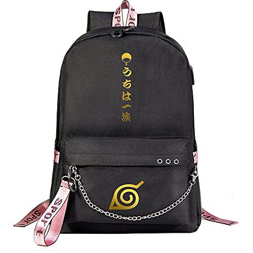ZZGOO-LL Naruto/Sharingan/Uchiha Sasuke with Chain USB Anime Mochilas Backpack Escolar para Hombres Mujeres Trabajo, Tableta Unisex Black-A