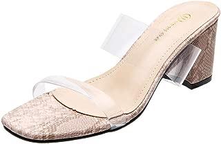Women's Clear Strappy Wedge Sandals PVC Transparent Block Heel Slip On Summer Dress Slides Sandal