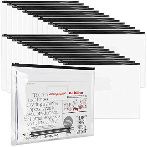 LABUK 48pcs Poly Zip Envelopes, A4 Size Plastic Envelopes Pouch with Label Pocket, File Folder with Zipper for Home Work Office Organization, Letter Size, Black