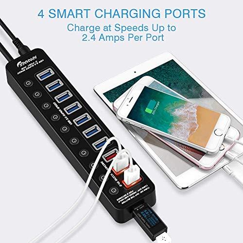 USB 3.0 Hub, APANAGE 11 Ports USB Hub (7-Ports Datenübertragung und 4-Ports Schnellladegerät USB Hub 3.0 Aktiv) mit Einzelnen Power Schalter, mit 48W Netzteil und 1M Kabel, für Laptop PC
