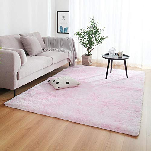 Tie-Dyed Gradient Color Plush Super Soft Carpet Anti-Slip Floor Table Mats Fluffy Area Rug For Living Room Bedroom Home Decor,I Pink,60X160Cm