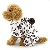 SELMAI Leopard pequeño Perro Pijama con Capucha Terciopelo Suave Perrito Mono Cuatro Patas Pet Invierno Franela Abrigo suéter Perrito Yorkie Chihuahua Ropa Prendas S