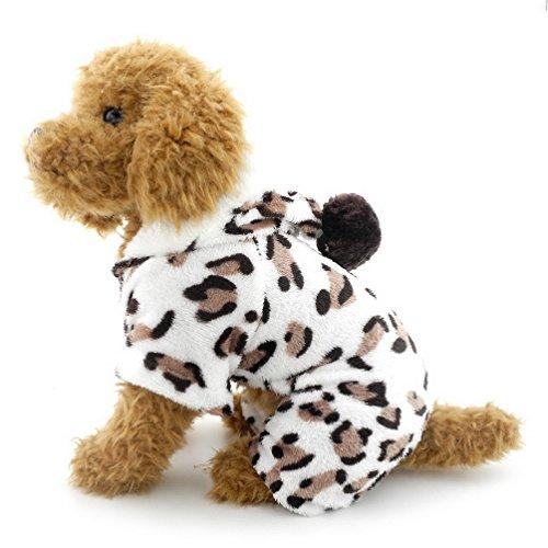 SELMAI Leopard pequeño Perro Pijama con Capucha Terciopelo Suave Perrito Mono Cuatro...