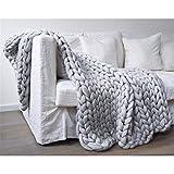 FFXN Chunky Knit Blanket Handwoven Wool Yarn Knitting Throw Bed Sofa Super Warm...