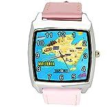 taport® España Mallorca isla cuarzo cuadrado Watch Color Rosa Real piel banda + libre batería de repuesto + libre bolsa de regalo