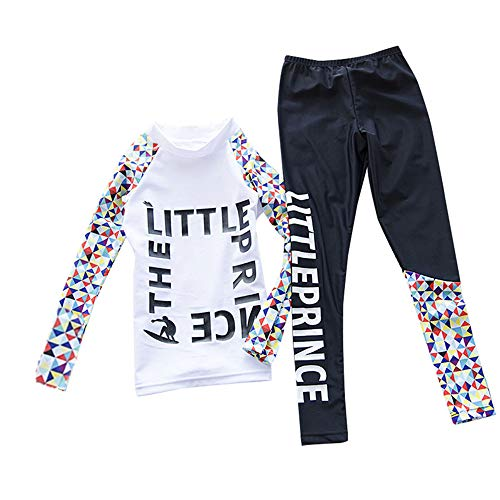 Happy Cherry Girls Long Sleeve Swimsuit Two Piece Quick Dry Comfortable Soft Winter Warm High Collar Swimming Wetsuit 7-8T White
