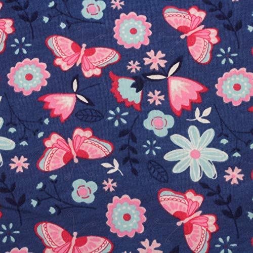 Neumann Handelsvertrieb Jersey Stoff 100% Baumwolle 165 cm Breit (100 x 165 cm, Schmetterling Blau)