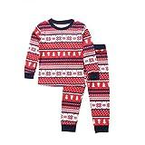 Moneycom - Conjunto de pijama para padres y niños (manga larga), diseño de muñeco de nieve, color rojo Enfant 4-5 Años
