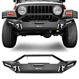 2006 dodge ram 1500 winch bumper - Nilight Front Bumper Compatible for 87-06 Jeep Wrangler TJ & YJ Rock Crawler Bumper with 2 x LED Lights, Winch Plate and 2 x D-Rings,Upgraded Textured Black,2 Years Warranty