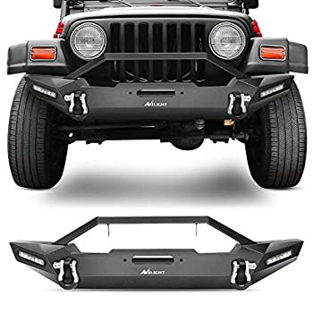 Nilight Front Bumper Compatible for 87-06 Jeep Wrangler TJ & YJ Rock Crawler Bumper with 2 x LED Lights Winch Plate and 2 x D-Rings,Upgraded Textured Black,2 Years Warranty  JK-55A