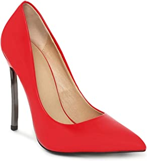 ESTATOS Synthetic Leather Pointed Toe Red Colour Pencil Heel Stetlitos for Women
