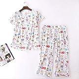 XFLOWR Summer Ladies Cute Cartoon Animal Printed Pyjama Set Comfort Soft Cotton 2pcs Ropa de Dormir Loose Women Casual Wear Homewear Set S Cartoon-White