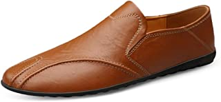 HaiNing Zheng Driving Loafer for Men Boat Moccasins Slip On Style OX Leather Low Top Round Toe Lightweight (Color : Red Brown, Size : 6 UK)