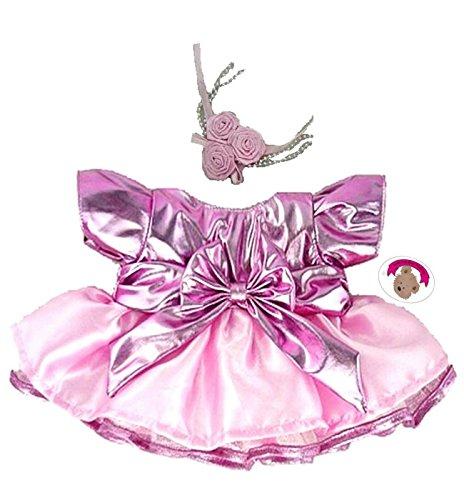 Build your Bears Wardrobe Construire Votre Ours Armoire 38,1 cm Vêtements Fit Construire des Ours métallique Robe et Fleurs (Rose)