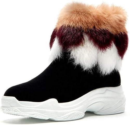 YAN Stiefel para damen Gamuza de Invierno Stiefel de Nieve cálidas High-Top Casual schuhe Fashion Party & Evening schuhe Purpl schwarz