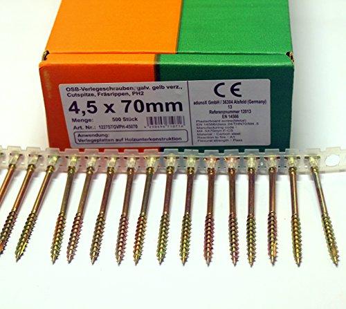 500 Stück magazinierte OSB Verlegeschrauben 4,5 x 70 mm Gurtschrauben gelb verzinkt PH2 Magazinschrauben