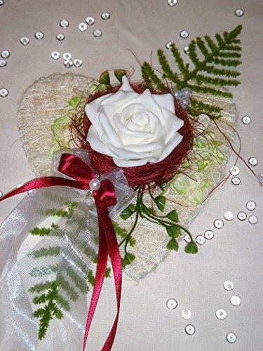 Tischdekoration bordeaux zur Hochzeit Verlobung Kommunion Tischdeko Sisalherz TD0033