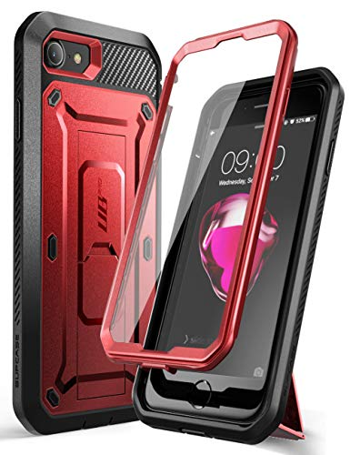 SUPCASE Unicorn Beetle Pro Series Case Designed for iPhone SE 2nd Generation 2020 / iPhone 7 / iPhone 8, Built-in Screen Protector Full-Body Rugged Holster & Kickstand Case (MetallicRed)