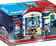 For fun on the go: PLAYMOBIL Police Station Play Box with policeman, prisoner and accessories for detailed re-enactments Clever box with sufficient storage space for all individual parts, smooth-running latch for opening and closing and carrying hand...