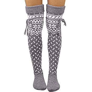 vermers Warm Long Socks Women Thigh High Over the Knee Socks Casual Wool Winter Stockings Gray2