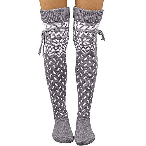 FRAUIT Damen -Weihnachtswarme Schenkel-hohe lange Strümpfe stricken über Socken Weihnachten Frauen-Winter-Warme Gestrickte Socken-Bein-Wärmer-Aufladung Häkelarbeit-lange Socken