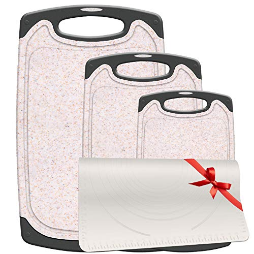 Gesentur Schneidebrett Set 3-teilig mit Rutschfeste Matte, Kunststoff Antibakteriell Küchenbrett mit Saftrille, Aufhänge/Tragegriff, 3 Größen