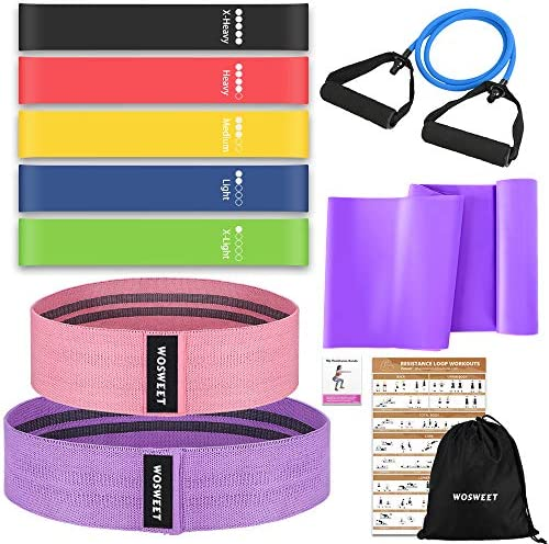 Wosweet Exercise Resistance Bands Set 11 Pack Workout Bands Set with Poster 5 Loop Resistance product image
