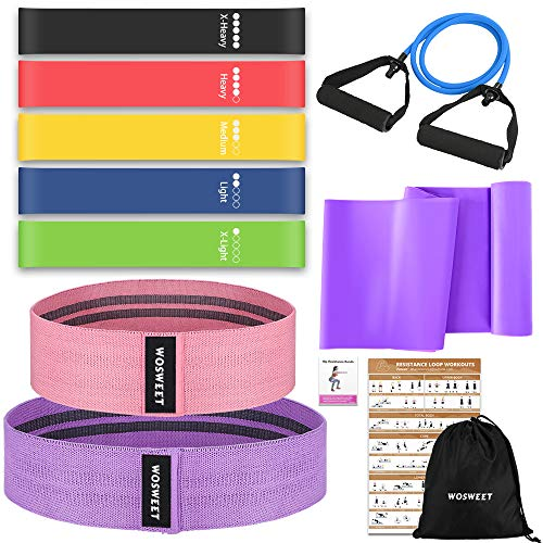 Wosweet Exercise Resistance Bands Set, 11 Pack Workout Bands Set with Poster, 5 Loop Resistance Bands 2 Resistance Bands for Hips 1 Non-Latex Elastic Bands Arm Workout Pull Rop Carry Bag