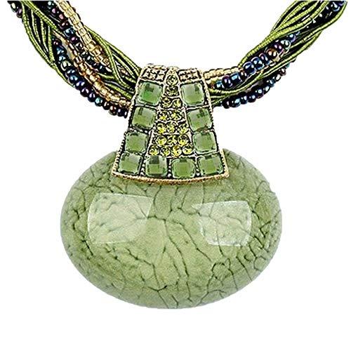 Signore-Signori® Retro Grün Ovale Aussage-Halskette Handgemachte Mode Schmuck Weihnachten Geschenk