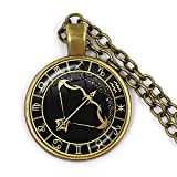 Minyose 12 constelación Escorpio Sagitario Capricornio Acuario Colgante Collar de Bronce Antiguo cúpula de Cristal joyería del Zodiaco para Regalo