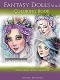 Fantasy Dolls Vol.2 Coloring Book Grayscale: 25 Portraits of Big Eye Cuties