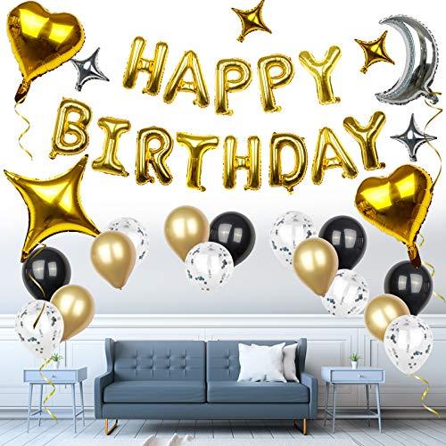 SKYIOL Luftballons Geburtstag Deko Gold Silber Schwarz 55 Stück Happy Birthday Buchstabenballons Girlande mit Herz Stern Foilenballons Helium Latex Ballons Band Klebepunkte für Mädchen Junge Party