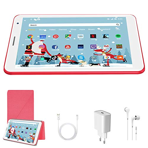 Tablet Android 10 Pie Tablets 3GB RAM + 32 GB ROM 128GB Espandibili - Certificato Google GMS - WIFI | Bluetooth | iWawa APP| Doppia Fotocamera Tablet (rosso)