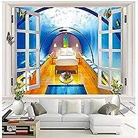 壁の壁画の壁紙の壁の装飾の写真の壁紙のための窓の小屋の海底3dの壁紙の壁画の寝室-300x210cm