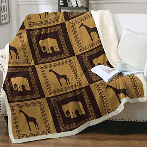 Wild Animal Reversible Lujo Sherpa Linda Acuarela Safari Animales Cómodo Sofá de felpa Felpa Sofá King (127 x 152 cm), Marrón
