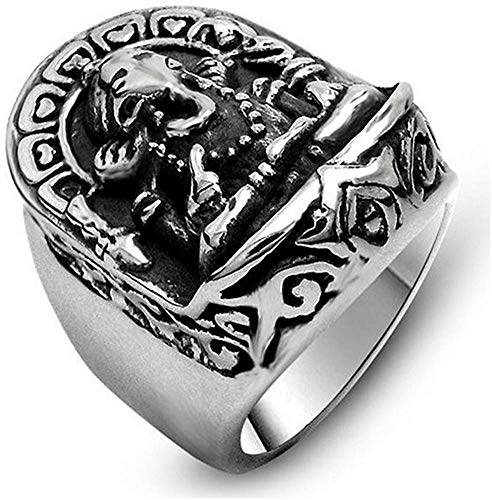 NA Men's Stainless Steel Hindu Fortune Elephant God Ring, Vintage Classic Punk Silver Black