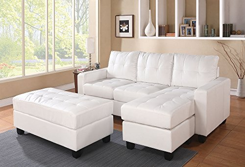 ACME Lyssa White Bonded Leather Sectional Sofa with Reversible Chaise and...