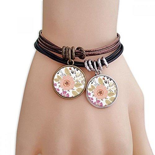 DIYthinker Damen Dahlia Blume Pflanze Farbe Armband Doppel-Leder-Seil-Armband Paar Sets